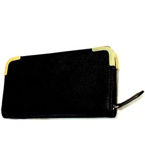 Spring Black Faux Leather Zip Wallet